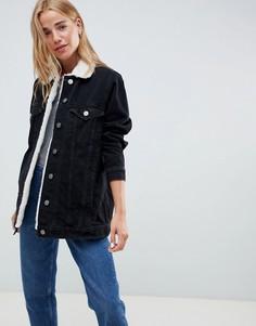 Черная джинсовая куртка с воротником борг ASOS DESIGN - Черный