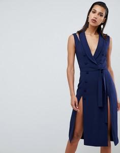 Платье миди в стиле смокинга без рукавов с двумя разрезами на юбке Lavish Alice - Темно-синий