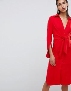 Платье-рубашка с поясом на талии Lavish Alice - Красный