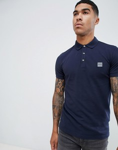 Темно-синяя облегающая футболка-поло с логотипом Boss - Темно-синий