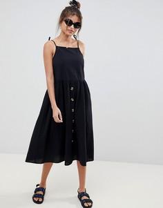 Свободный сарафан миди в стиле casual с пуговицами ASOS DESIGN - Черный
