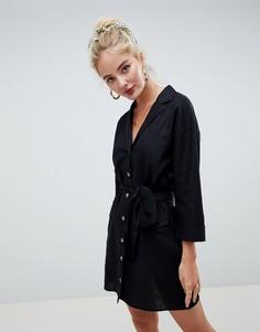 Платье-рубашка мини с добавлением льна и ремнем ASOS DESIGN - Черный