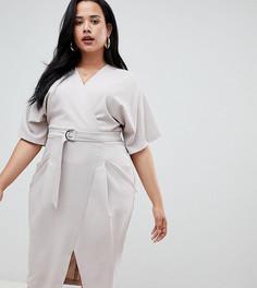 Платье миди с запахом, поясом и D-образной пряжкой ASOS DESIGN Curve - Серебряный