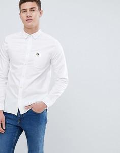 Lyle & Scott logo long sleeve oxford shirt in white - Белый
