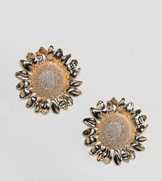 Позолоченные массивные серьги с дизайном в виде подсолнухов Rock N Rose - Золотой