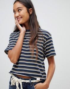 Свободная темно-синяя футболка в полоску Pull&Bear - Темно-синий