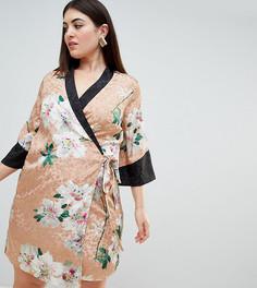 Жаккардовое платье мини в стиле кимоно с запахом и цветочным принтом ASOS DESIGN Curve - Мульти