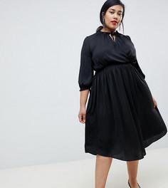 Черное платье с запахом и завязкой River Island Plus - Черный
