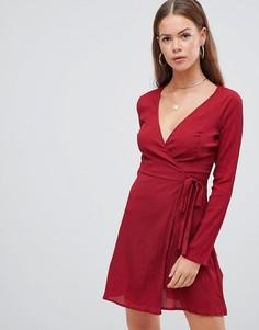 Платье с запахом и поясом Boohoo - Мульти