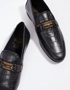 River Island leather loafers in black croc - Черный