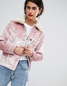 Бархатная куртка с карманами ASOS DESIGN - Розовый