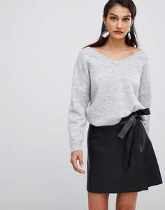 Кожаная юбка с запахом Selected Femme - Черный