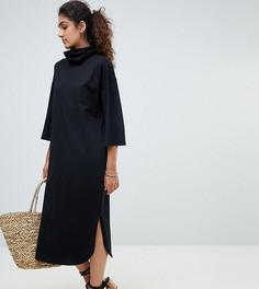 Свободное платье миди с высоким воротником и широкими рукавами ASOS DESIGN Tall - Черный