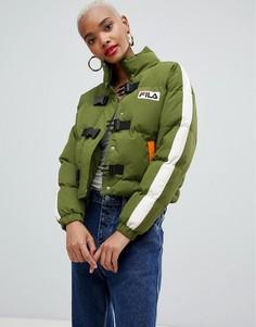 Дутая куртка с застежкой на пряжку и логотипом на груди Fila - Зеленый
