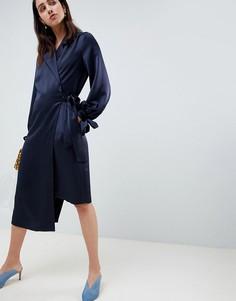 Платье миди с запахом ASOS WHITE - Темно-синий