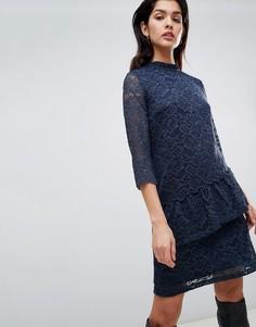 Кружевное платье с высоким воротником и асимметричной оборкой Vila - Темно-синий