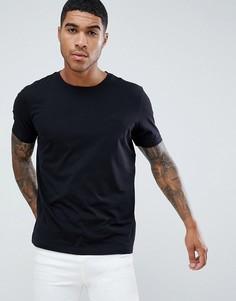 Черная футболка с вышивкой логотипа HUGO - Черный