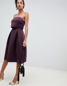Платье-бандо миди для выпускного с кроп-топом ASOS DESIGN - Фиолетовый
