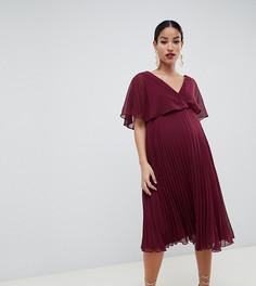 Платье миди с плиссированной юбкой и расклешенными рукавами ASOS DESIGN Maternity - Фиолетовый