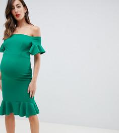 Зеленое платье миди с открытыми плечами и оборками Queen Bee - Зеленый