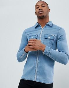 Светло-синяя рубашка с манжетами на молнии Liquor N Poker - Синий