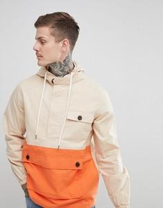 Куртка в стиле колор блок с капюшоном boohooMAN - Светло-бежевый