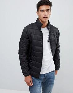 Черная стеганая куртка с воротом-трубой Burton Menswear - Черный