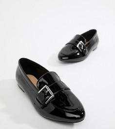 Туфли на плоской подошве для широкой стопы с острым носком London Rebel - Черный