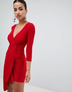 Драпированное платье с длинными рукавами и запахом Club L - Красный