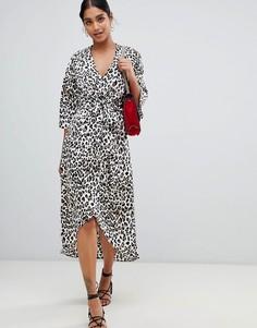 Платье миди с запахом и леопардовым принтом Liquorish - Мульти