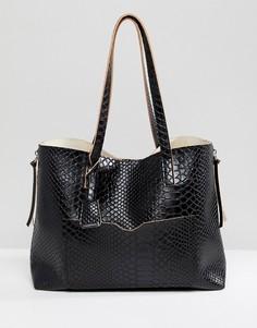 Черная сумка-шоппер с эффектом змеиной кожи и металлическими молниями Glamorous - Черный