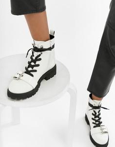 Кожаные байкерские ботинки Steve Madden Vixie - Белый