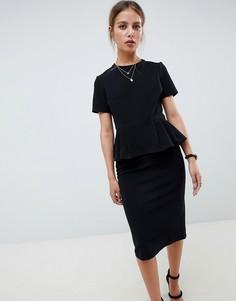Платье-футляр в рубчик с баской ASOS DESIGN - Черный