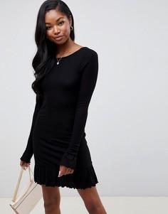 Платье мини с глубоким вырезом на спине и оборкой ASOS DESIGN - Черный