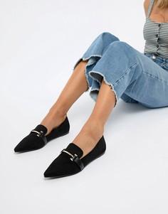 Туфли с острым носом на плоской подошве Park Lane - Черный
