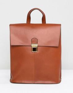Кожаный рюкзак с портфельной застежкой ASOS DESIGN - Рыжий