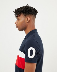 Футболка-поло с контрастной вставкой и принтом на рукавах Jack & Jones Core - Темно-синий