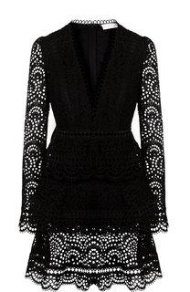 Кружевное мини-платье из хлопка с V-образным вырезом Zimmermann