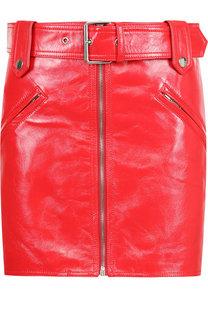 Кожаная мини-юбка с поясом Valentino