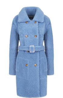 Двубортное пальто из овчины с поясом Yves Salomon
