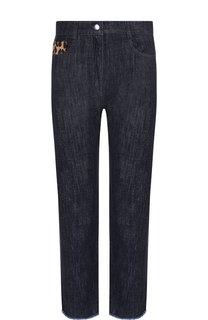 Укороченные джинсы с контрастной кожаной отделкой Michael Kors Collection