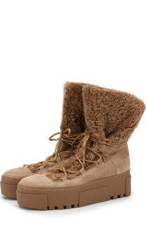 Замшевые ботинки с отделкой из овчины Vic Matie