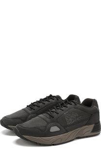Кожаные кроссовки на шнуровке Emporio Armani
