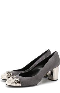 Замшевые туфли с декоративной отделкой на устойчивом каблуке Casadei