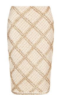 Вязаная юбка-карандаш в клетку St. John