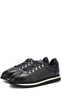 Замшевые кроссовки на шнуровке с внутренней меховой отделкой Doucals