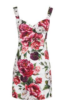 Приталенное мини-платье с принтом на бретельках Dolce & Gabbana