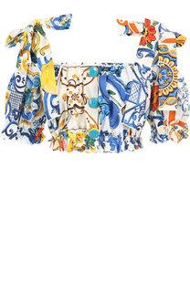 Укороченный хлопковый топ с принтом и бантами Dolce & Gabbana
