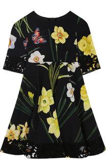 Платье из вискозы с кружевной отделкой Dolce & Gabbana