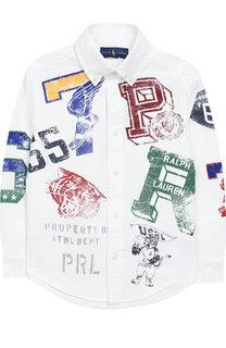 Хлопковая рубашка с воротником button down и принтом Polo Ralph Lauren